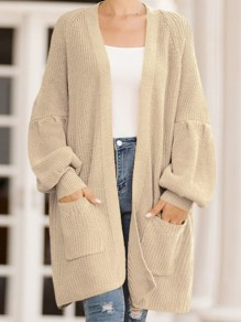 Yellow Pockets Oversize V-neck Lantern Sleeve Casual Cardigan Sweater