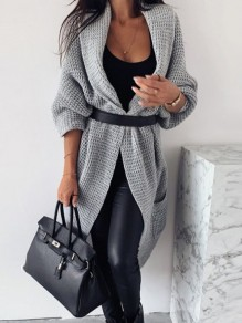 Grey Pocket Loose V-neck Long Sleeve Casual Cardigan Sweater