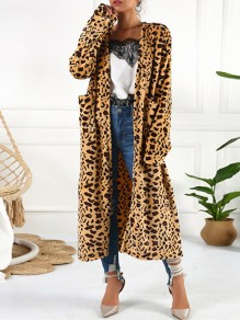 Brown Leopard Print Pockets Long Sleeve Thick Flowy Fluffy Coat Sweater Cardigan