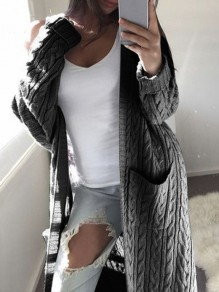Dark Grey Pocket Print V-neck Long Sleeve Fashion Cardigan Sweater