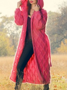 Pink Single Breasted Sashes Hooded Long Sleeve Oversize Cardigan Sweater