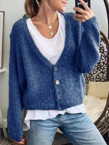 Blue Buttons V-neck Long Sleeve Fashion Cardigan Sweater