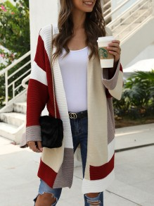 Red Color Block Irregular Oversize Long Sleeve Fashion Cardigan Sweater