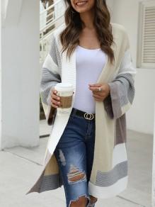 Grey Color Block Irregular Oversize Long Sleeve Fashion Cardigan Sweater