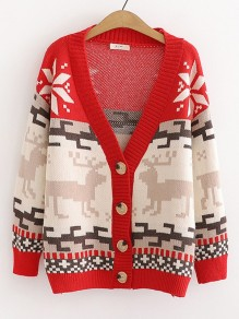 Red Christmas Print Button V-neck Long Sleeve Cute Cardigan Sweater