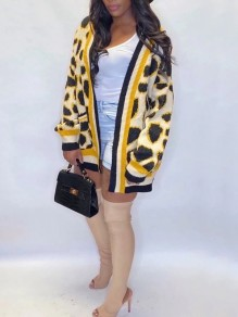 Yellow Leopard Print Pockets Long Sleeve Oversize Cardigan Sweater