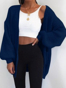 Blue Pockets V-neck Long Sleeve Oversize Fashion Cardigan Sweater