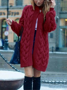 Red Patchwork Buttons oversize Long Sleeve Fashion Cardigan Sweater
