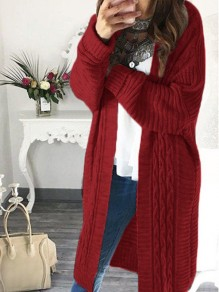 Red Oversize V-neck Long Sleeve Fashion Cardigan Sweater
