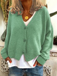 Green Buttons V-neck Long Sleeve Oversize Fashion Cardigan Sweater