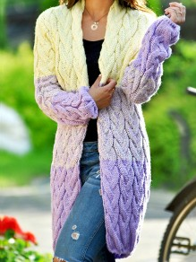 Purple Yellow Patchwork V-neck Long Sleeve Oversize Cardigan Sweater