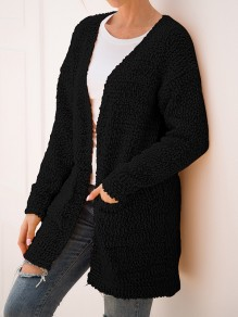 Black Pockets V-neck Long Sleeve Fashion Oversize Cardigan Sweater