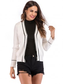 White Patchwork Buttons V-neck Long Sleeve Cardigan Sweater