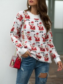 White Figure Print Round Neck Fashion Cute Christmas Ugly Pullover Sweater