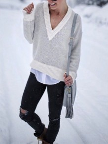 Grey Patchwork Print Long Sleeve V-neck Fashion Pullover Sweater
