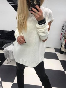 White Cut Out 2-in-1 Round Neck Long Sleeve Fashion Pullover Sweater
