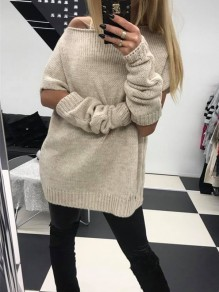 Beige Cut Out 2-in-1 Round Neck Long Sleeve Fashion Pullover Sweater