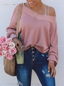 Pink Asymmetric Shoulder Long Sleeve Fashion Pullover Sweater