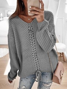 Grey Drawstring V-neck Long Sleeve Oversize Fashion Pullover Sweater