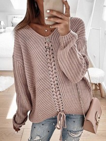 Pink Drawstring V-neck Long Sleeve Oversize Fashion Pullover Sweater