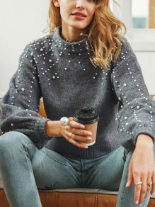 Grey Pearl Lantern Sleeve Cute Pullover Sweater