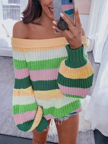 Yellow-Green Striped Off Shoulder Lantern Sleeve Oversized Casual Pullover Sweater