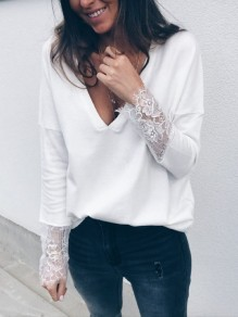 White Patchwork Lace V-neck Long Sleeve Pullover Sweater