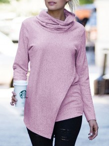 Pink Irregular Bodycon Comfy Long Sleeve Going out Sweaters