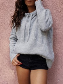 Grey Drawstring Pockets Bodycon Comfy Going out Sweater