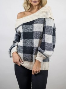 Apricot Plaid Off Shoulder Long Sleeve Casual Pullover Sweater