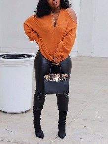 Orange Halter Neck Strapless Cut Out Long Sleeve Party Pullover Sweater