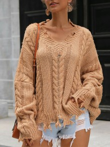 Brown Patchwork Irregular Ripped Destroyed V-neck Fashion Pullover Sweater