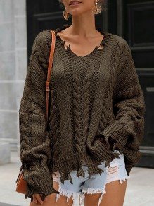Army Green Patchwork Irregular Ripped Destroyed V-neck Fashion Pullover Sweater