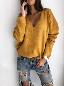 Yellow Patchwork Pastel V-neck Long Sleeve Fashion Sweater Pullover