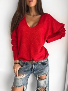 Red Patchwork Pastel V-neck Long Sleeve Fashion Sweater Pullover