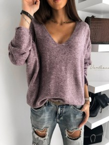 Purple Patchwork Pastel V-neck Long Sleeve Fashion Sweater Pullover