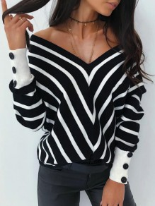 Black White Striped Buttons Retro Dolman Sleeve Fashion Pullover Sweater