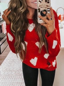 Red White Heart Pattern Ripped Destroyed Long Sleeve Sweet Pullover Sweater