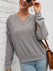 Grey Patchwork Lace V-neck Long Sleeve Fashion Pullover Sweater