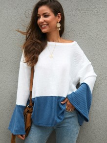 Blue White Patchwork Round Neck Flare Sleeve Pullover Sweater