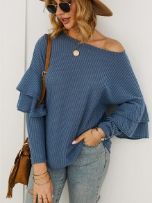 Blue Ruffle Round Neck Long Sleeve Fashion Pullover Sweater