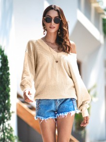 Apricot One Shoulder Long Sleeve Fashion Pullover Sweater