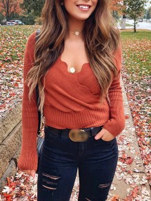 Orange Wavy Edge Bodycon V-neck Long Sleeve Going out Sweater