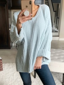Blue Pockets V-neck Long Sleeve Oversize Fashion Pullover Sweater