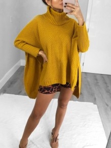 Yellow High Neck Dolman Sleeve High-low Slit Oversize Pullover Sweater