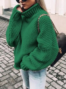 Green High Neck Long Dolman Sleeve Oversize Fashion Ugly Pullover Sweater