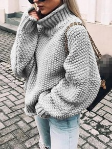 Grey High Neck Long Sleeve Oversize Fashion Pullover Sweater