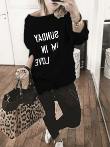 Black Monogram Asymmetric Shoulder Long Sleeve Pullover Sweater