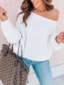 White Asymmetric Shoulder Long Sleeve Fashion Pullover Sweater