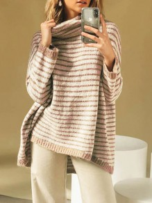 Khaki Striped Print High Neck Long Sleeve Oversize High-low Pullover Sweater